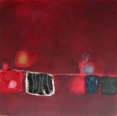 Röda floden, abstrakt målning av ryn